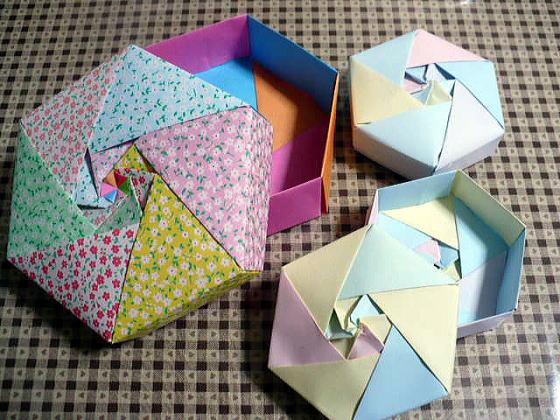 ハート 折り紙 折り紙箱六角形折り方 : divulgando.net