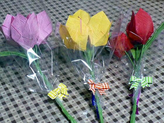 ハート 折り紙 折り紙 チューリップ 花束 : divulgando.net