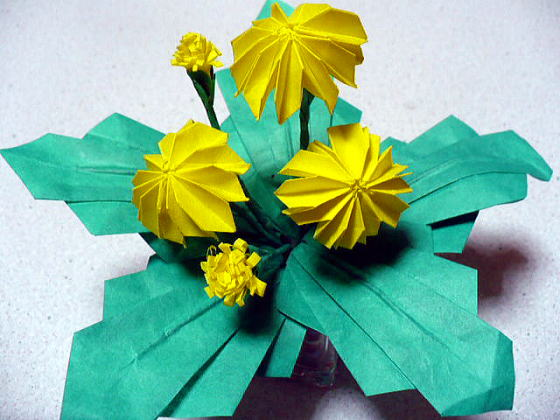 すべての折り紙 折り紙 マジックボール 折り方 : 以前に折ったたんぽぽはお花も ...