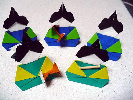すべての折り紙 三人官女 折り紙 : 五人囃子や三人官女につけ ...