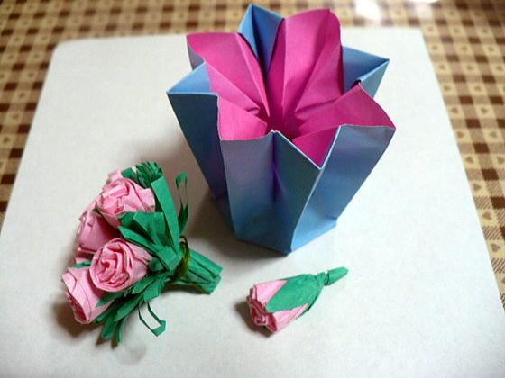 すべての折り紙 あじさい 折り紙 簡単 : 今年のおりがみあじさい [お花]